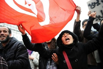 The uprising in Tunisia, which catalyzed the overthrow of the Mubarak regime in Egypt, offers inspiration for social justice activists everywhere. PHOTO: AFP