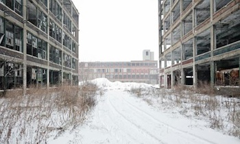 A closed car plant in Detroit. In some neighborhoods in the city, 80 percent of housing is empty amid widespread unemployment. PHOTO: James Leynse/Corbis