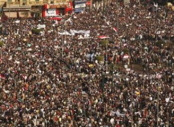 Cairo's Tahrir Square is packed with protesters demanding the downfall of a dictator.