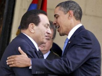 President Obama exchanges greetings with Egyptian dictator Hosni Mubarak during a 2009 visit in Cairo. PHOTO: Amr Abdallah Dalsh