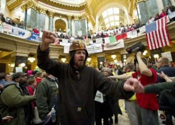The protests in Wisconsin's capital building have galvanized the labor movement. PHOTO: Brian Kersey/UPI