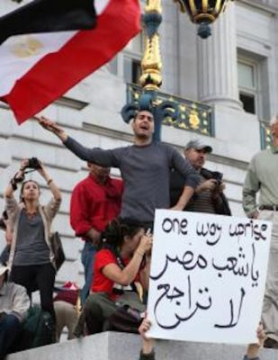 A San Francisco demonstration in solidarity with the Egyptian revolution PHOTO: Jeffrey Boyette/SW