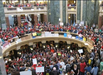 The fight continues inside the Wisconsin Capitol, on February 18, 2011.
