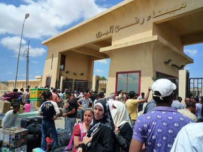 BREAKING THE SIEGE: Shifting political winds in Egypt may undermine the four-year-long blockade of Gaza. Shown here are Palestinians at the Rafah border crossing with Egypt. PHOTO: Vince Perritano/Flickr