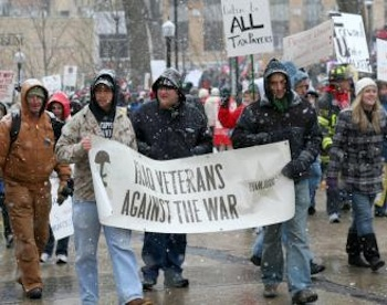 Members of Iraq Veterans Against War march in solidarity with Wisconsin workers. PHOTO: SocialistWorker.org