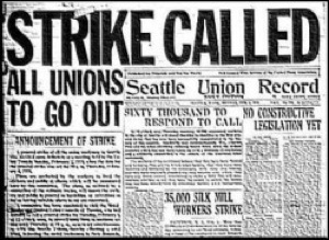 Headlines during Seattle's general strike of 1919. PHOTO: inthesetimes.org