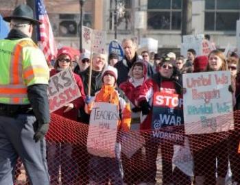 Protesters against Wisconsin Gov. Scott Walker's anti-union legislation gather outside the state Capitol. PHOTO: Matt Schilders