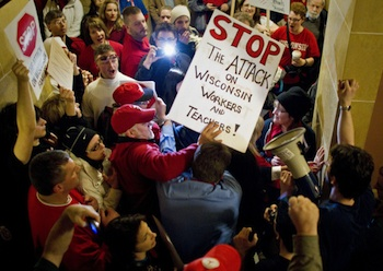 On Feb. 17, 25,000 protesters occupied Wisconsin's Capitol to protest a bill that would end most collective-bargaining rights for public workers. Their struggle continues. Photo: Tom Lynn/Milwaukee Journal Sentinel
