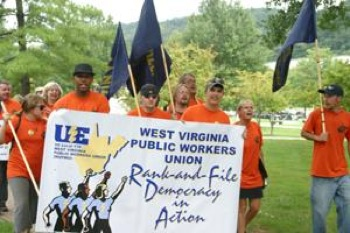 Members of United Electrical Workers Local 170, public employees in West Virginia, marched to the governor's office last September. This union functions despite the lack of collective bargaining rights. Photo: UE