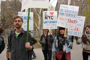 Activists at a rally against hydro-fracking in Washington Square Park in late April, 2011. PHOTO: Ichi Vazquez