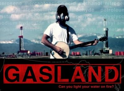 Poster for the film Gasland, a documentary about the practice of fracking in different U.S. communities.