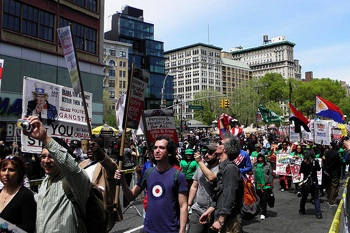 New Yorkers rallied at Union Square and then marched to Foley Square to commemorate May Day 2011. CREDIT: Flickr/ronalisa