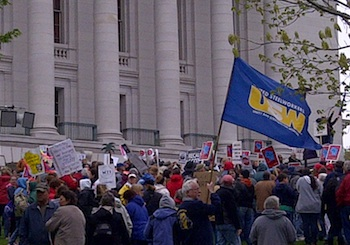 May 14 protest in Madison slams Governor Walker PHOTO: Fight Back! News/Staff
