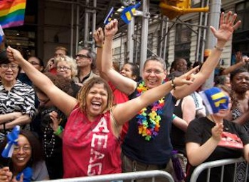 New York celebrates the legalization of same-sex marriage during Pride weekend. PHOTO: SocialistWorker.org