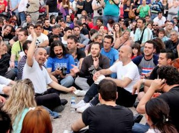 Protesters in Thessaloniki fill a public square in protest against austerity measures. PHOTO: Tom Tziros