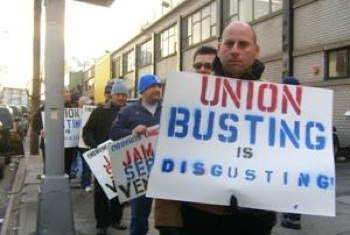 The typical union vote in the U.S. subjects workers to months of interrogation, intimidation, and firings, like this election at New York grocer Fresh Direct. That harrowing pre-election period could be shortened this summer with new NLRB rules. CREDIT: LaborNotes.org