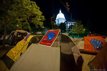 Protesters set up tents during their first night in Walkerville on June 5.  PHOTO: dane101.com