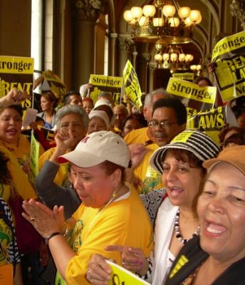 renters unite: Tenants packed the state capitol June 13 to demand stronger rent laws. This group came from Mirabal Sisters, a West Harlem community group.  (Credit: Steve Wishnia)
