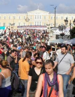 Another day of mass demonstrations fills Syntagma Square in Athens. PHOTO: Ioannis Poulopoulos