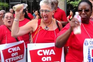 "At Verizon locations throughout the Northeast, 45,000 workers started walking picket lines Sunday. ""We're on strike for our bargaining rights, just like Wisconsin or Ohio,"" said CWA President Larry Cohen. Photo: Jenny Brown/Labor Notes"