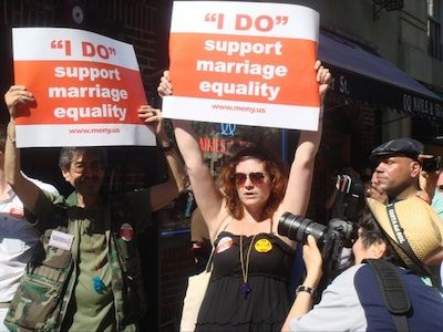 Melissa Kleckner, center, at a rally she helped organize for Queer Rising. (Credit: Photo courtesy of Melissa Kleckner)