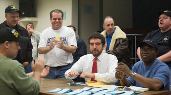 Jason Ide, Local 814's president, at a recent union vote. (Credit: Teamsters Local 814)