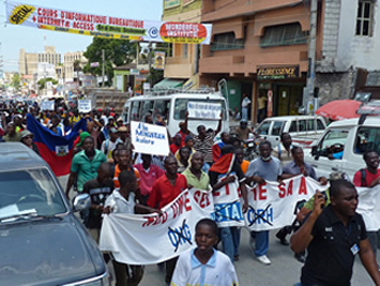 Haitians march in a protest against MINUSTAH, September, 2011. (Photo: Ansel Herz)