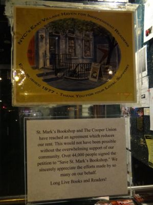 St. Mark's Bookstore announces it's new lease on life. (Photo: Shell Sheddy)
