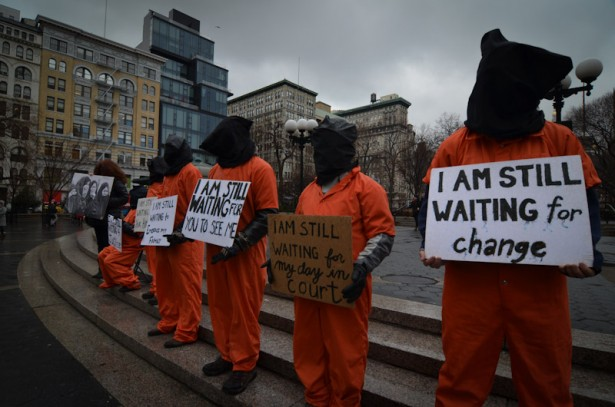 Witness Against Torture activists at Union Square in New York City on the second day of their solidarity fast.jpeg